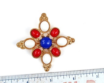 vintage maltese cross brooch pin by Sarah Coventry, red white and blue cabs on gold tone