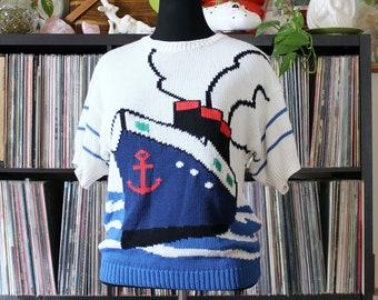 80s vintage cruise ship knit sweater, nautical stripes, novelty sailor cutie, short sleeves, womens medium