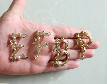 vintage initial pin brooch - B P E F stylized twig and leaf design, gold tone Sarah Coventry