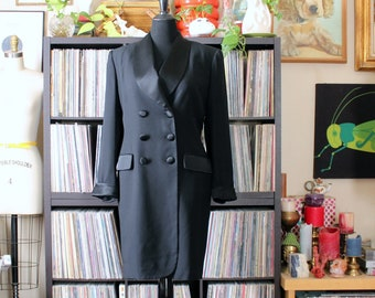 black tuxedo dress by Evan Picone, double breasted blazer dress, approx xl 1x 16