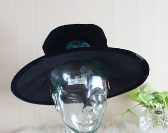 vintage black velvet witch hat with wide brim, flat top, perfect witchy Lydia goth lewk