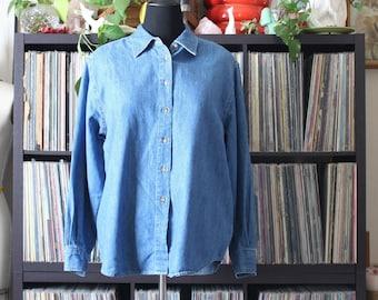 vintage denim shirt, womens light camping button down, XL