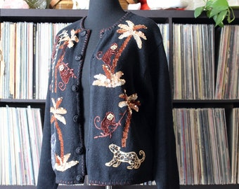 vintage monkey cardigan, black with giraffe leopard elephant... womens size large by Lisa International