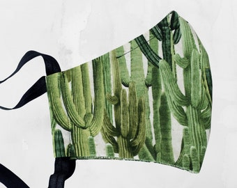 CACTUS cloth face mask with nose wire, filter pocket and elastic tie, ACTUAL handmade cotton