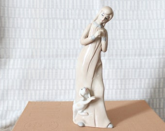 vintage porcelain figure of a young woman and dog, tall girl in nightgown, Tengra or Lladro style