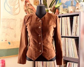 vintage brown velveteen blazer jacket, womens medium large
