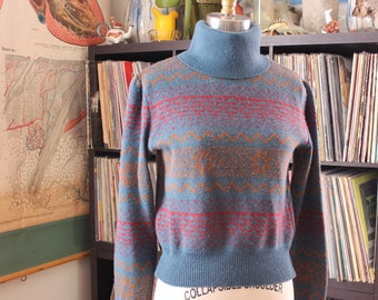 1980s vintage fair isle sweater, blue turtleneck ski sweater, womens size small