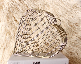 vintage heart shaped cage, brass tone metal decorative hanging birdcage, would look cool with a plant in it