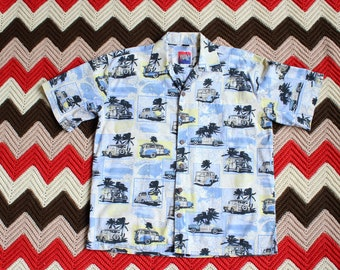 90s vintage surf wagon novelty print button up shirt, woody classic car and palm trees by D'em Crazy, mens size large