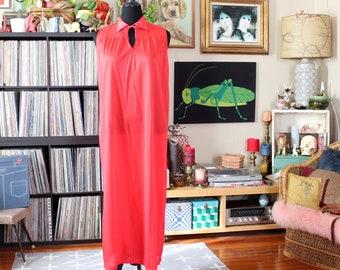 red vintage nightgown, nylon full length maxi, womens medium