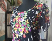 vintage rayon floral maxi dress, 80s 90s festival fashion, corset tie back, APPROX womens size large