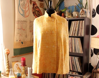 vintage nubby cape poncho jacket, yellow and orange. will fit many