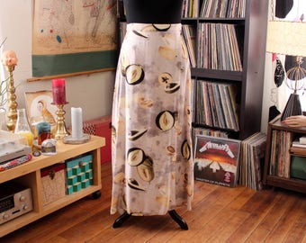 "vintage rayon maxi skirt, faux wrap skirt with lemons, avocados, fruit skirt . womens size large xl, 32"" waist"