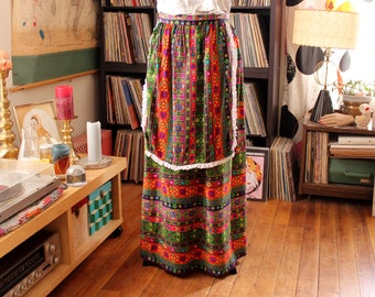 vintage 60s 70s hostess skirt with apron, womens flower power maxi skirt, womens volup plus size xl 1x 2x