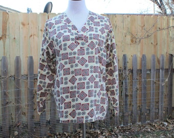 vintage mens pajama shirt by Brent, cotton pullover with mid century print, long sleeves, sanforized, approx size large