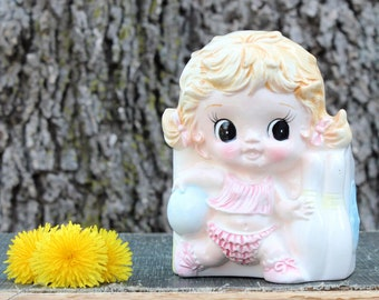 vintage planter bowling girl, made in Japan by Ardco . cute big eyed kid, 1960s decor
