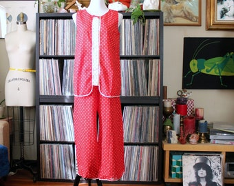 60s 70s vintage pajama set by Lorraine, red and white sleep shirt and pants, tag size 34