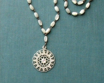 vintage mother of pearl beaded pendant necklace, beautifully carved MOP medallion snowflake pendant