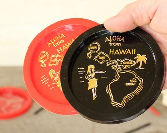 vintage Hawaii coasters and stirrers . red & black plastic coaster and stir stick set in original box, set of 4, hawaiian souvenir
