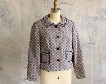 vintage 60s cropped jacket . patriotic mod 1960s, womens medium large . red white & blue houndstooth jacket