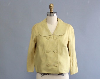 vintage 1960s silk jacket . double breasted jacket in pale golden chartreuse . spring cropped jacket