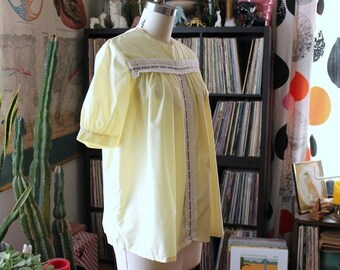 cute vintage pajama top, yellow blouse, slightly sheer, puffed sleeve, loose fit