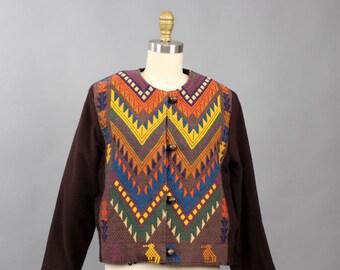 vintage Guatemalan jacket . 70s 80s cotton handwoven jacket, toggle clasp, pockets . womens boho chevron jacket size small medium