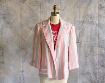 sale pink and gray striped blazer . womens blazer size large xl . 1980s dress jacket . NWT . NOS