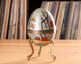 vintage cloisonne egg with brass stand . enamel egg trinket box, 1980s India brass enamel egg . blue floral easter egg