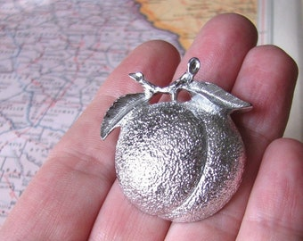 vintage silver peach pin brooch by Sarah Coventry