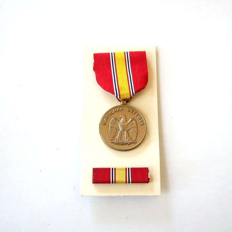 sale vintage 1968 National Defense Service pendant and ribbon image 0