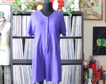 womens vintage plus size romper, jersey knit shorts jumper one piece, baseball jersey romper, approx 2x