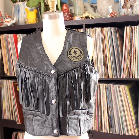 laced cropped pret always sides toujours black leather vest womens patch large fringe ready vintage biker APPRX vest leather Cw6f0aqxP