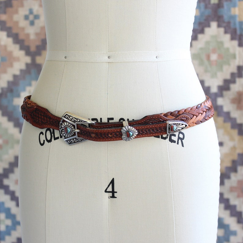 vintage Justin ranger belt brown braided leather with silver image 0