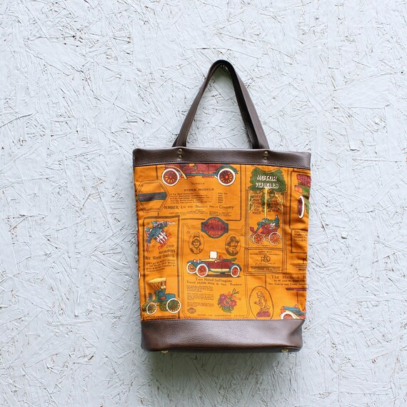 60s 70s vintage market tote bag, antique automobil