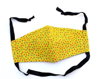 70s 80s vintage prairie calico floral face mask with nose wire, filter pocket and elastic tie, reusable handmade bright yellow