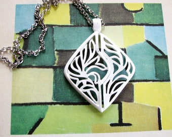vintage white enamel necklace, large abstract pendant, geometric design on chunky silver chain