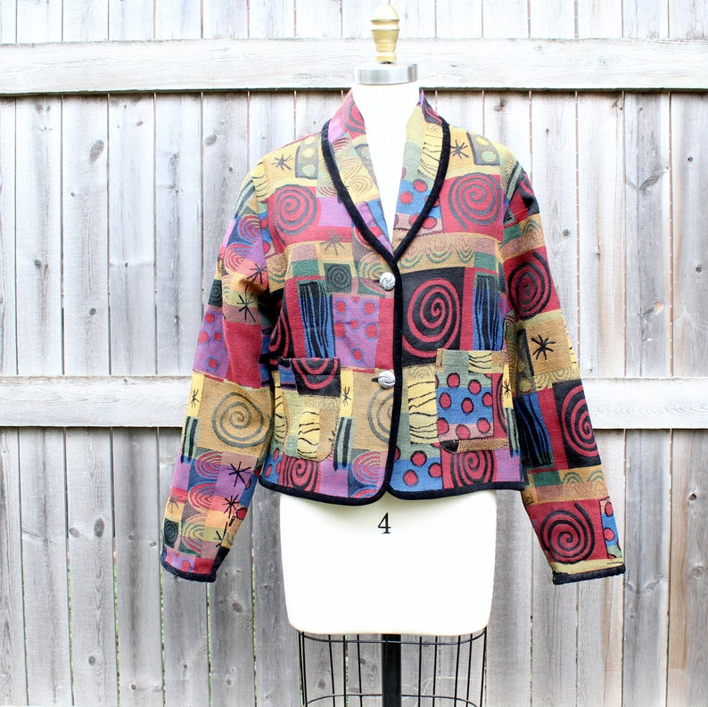90s vintage abstract tapestry jacket cropped fit womens image 0