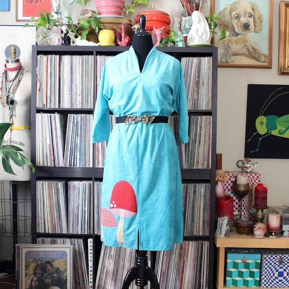 mushroom dress, 1970s vintage aqua w/ dolman sleev