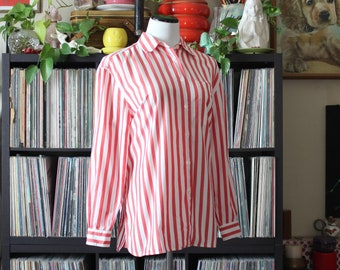women's vintage striped oxford shirt by Lizsport, white and pink or faded red vertical stripes, tag size medium