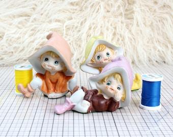 set of 3 vintage elves or gnomes, ceramic figurines pixies by Homco