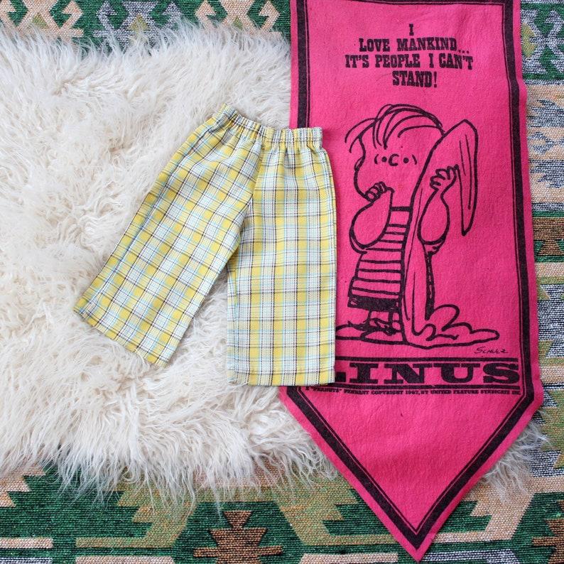 KIDS vintage plaid trousers  12 mo by Shirtees . yellow aqua image 0