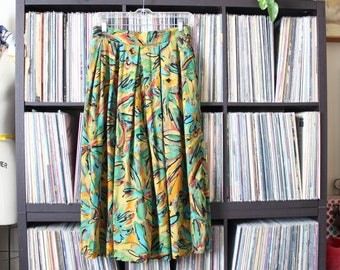 colorful vintage rayon gaucho pants, approx womens medium large