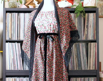 deadstock Mr. Hank maxi dress & matching shawl, 1970s vintage prairie boho in pink and red floral geometric, black lace and velvet trim