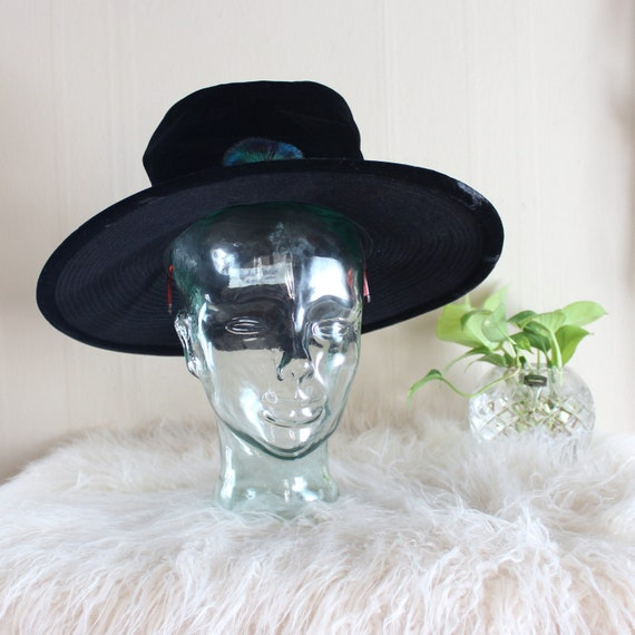 vintage black velvet witch hat with wide brim, fla