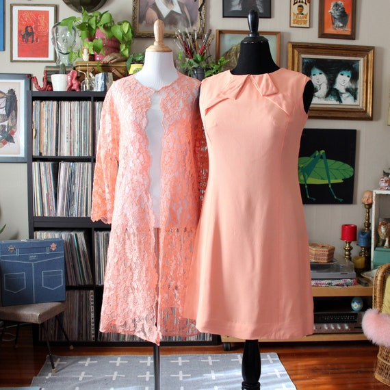 vintage 60s peach dress with lace overlay jacket b