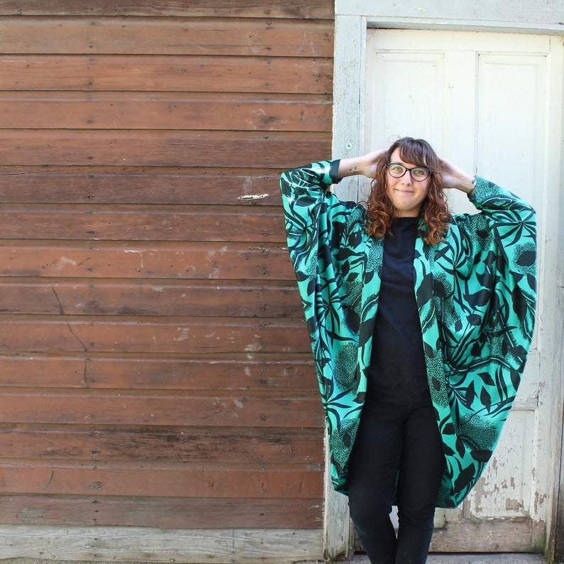 1980s vintage cocoon jacket draped lightweight green and image 0
