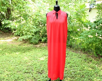 vintage nightgown red nylon maxi, womens medium large nightie