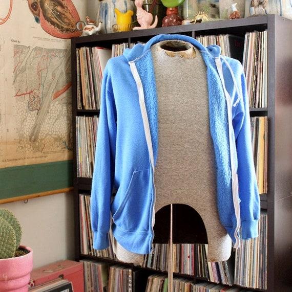 vintage 80s hoodie, mens / unisex, blue, some flaw