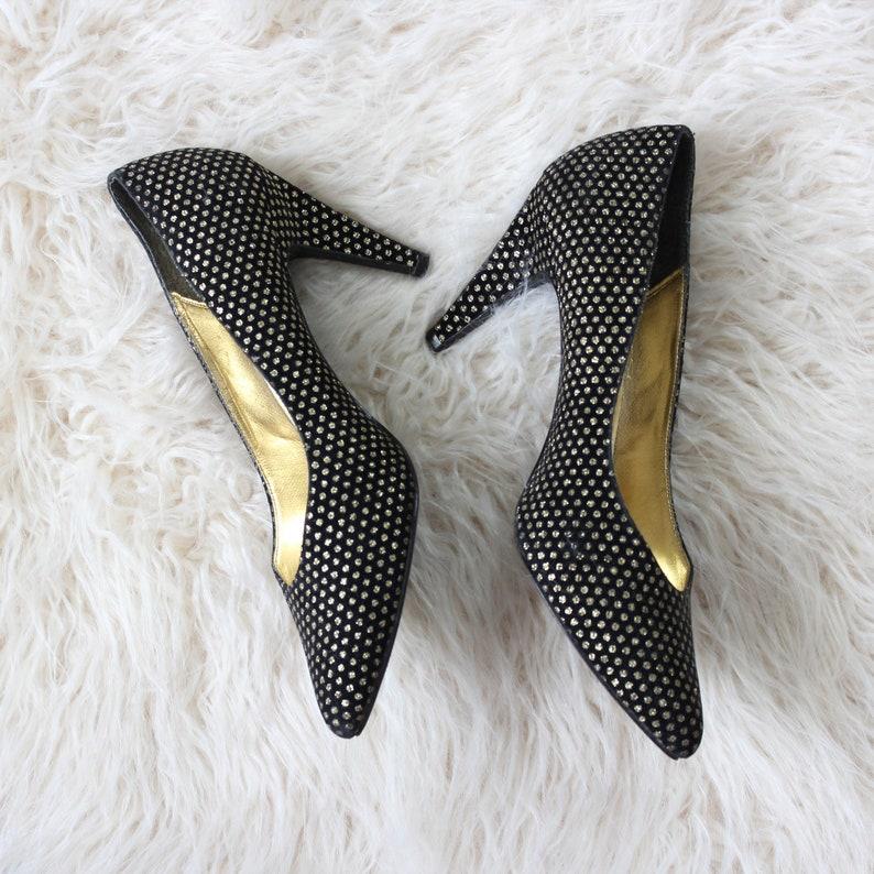 1980s vintage pumps black and gold polka dot high heels by image 0